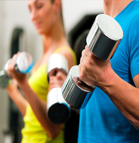 People holding dumbbells